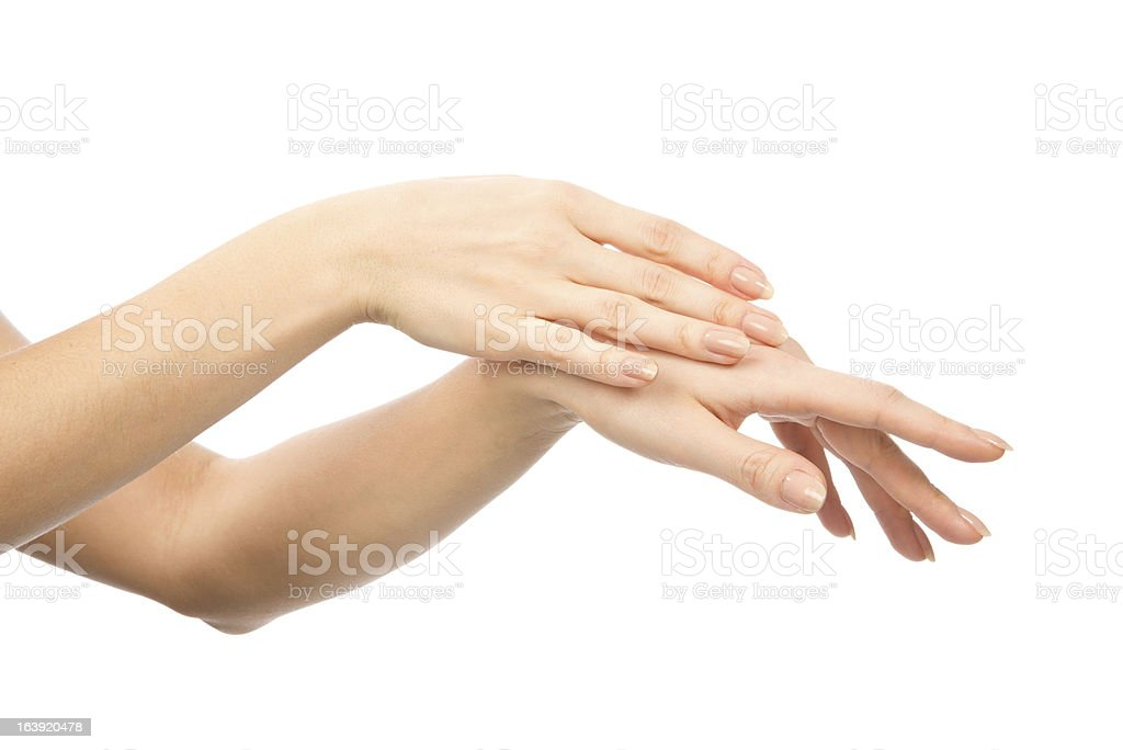Beautiful woman hands with french manicure nails royalty-free stock photo