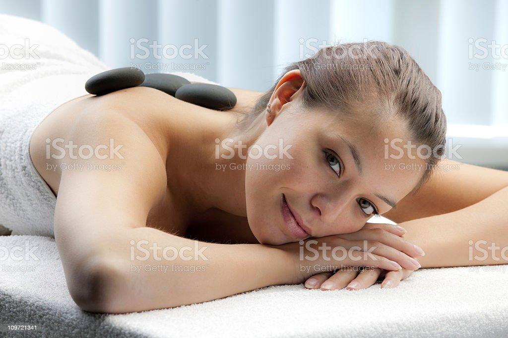 beautiful woman having lastone therapy XXXL royalty-free stock photo