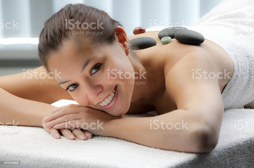 beautiful woman having lastone therapy XXXL royalty-free stock photo