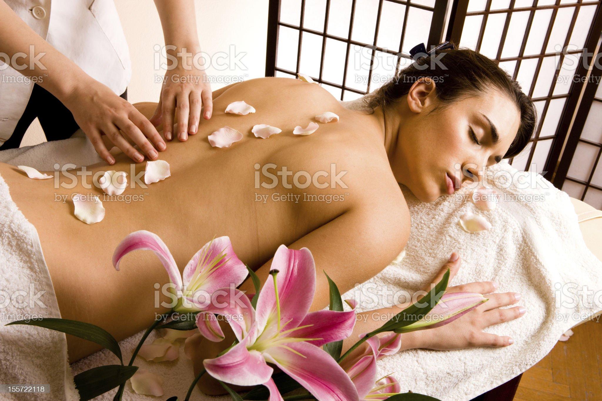 Beautiful woman having massage royalty-free stock photo