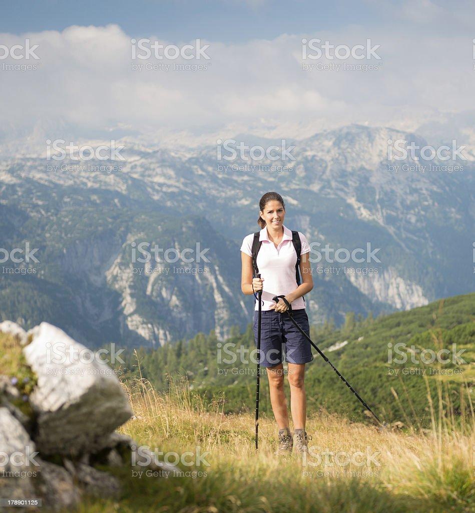 Beautiful woman hiking royalty-free stock photo