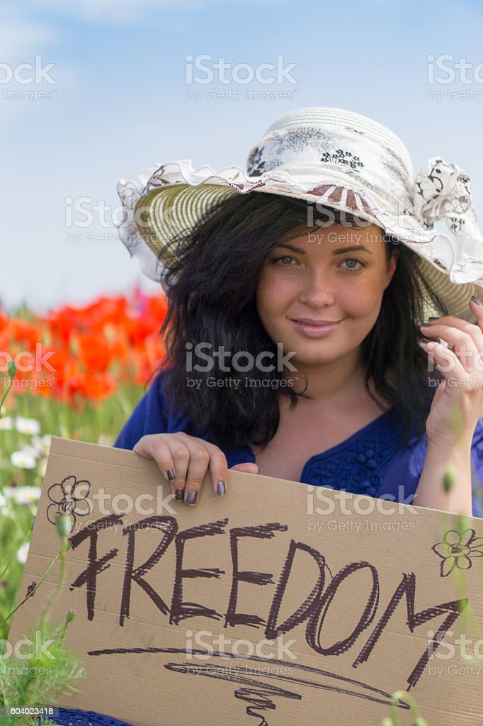 Beautiful woman holding a paper cardboard stock photo
