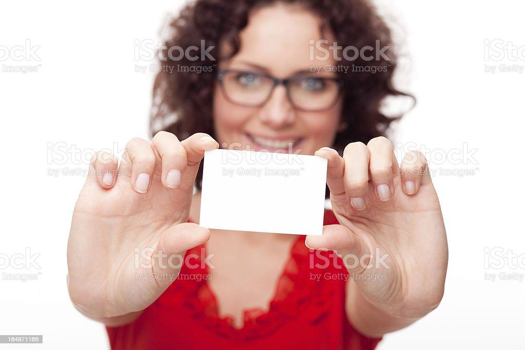 beautiful woman holding blank card XXXL royalty-free stock photo