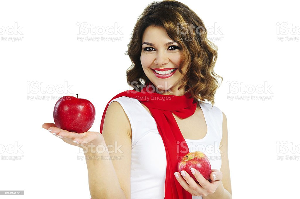 Beautiful woman holding red apple isolated on white royalty-free stock photo