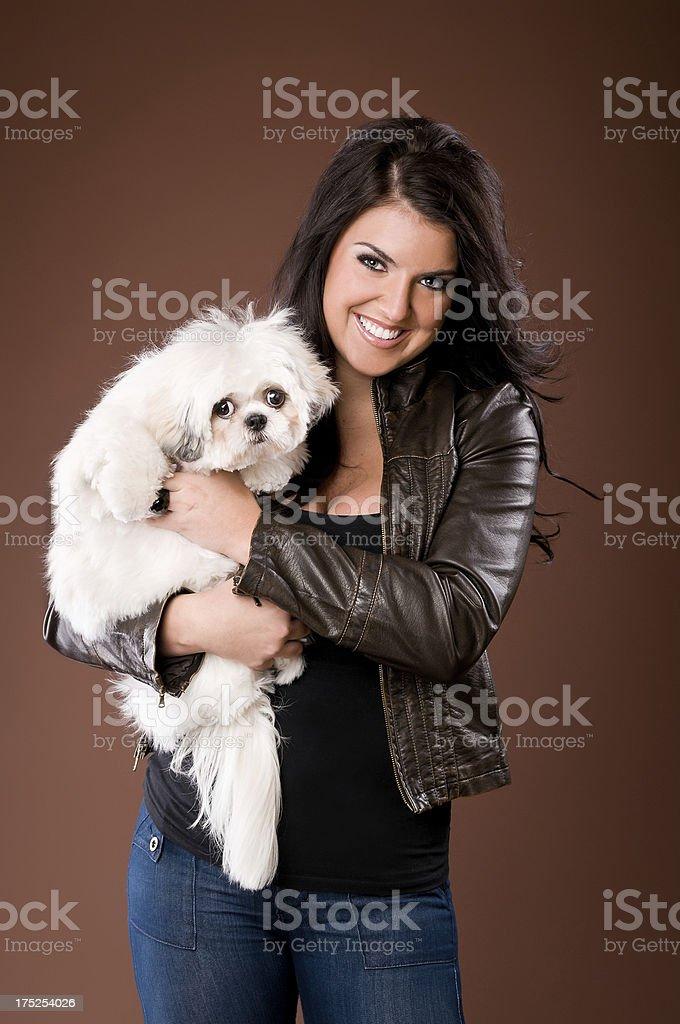 Beautiful Woman Holding Shih Tzu Poodle Dog royalty-free stock photo
