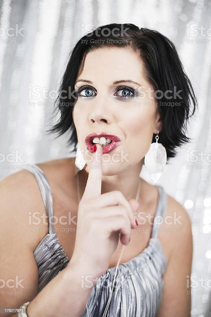 Beautiful woman hushing royalty-free stock photo