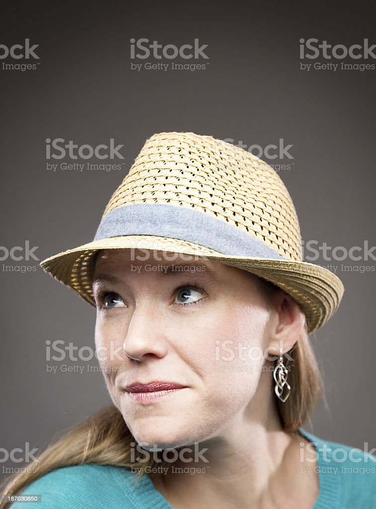 Beautiful woman in a hat royalty-free stock photo