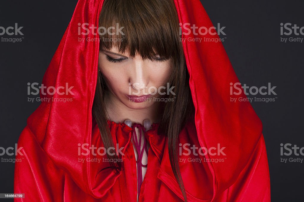 beautiful woman in a red robe royalty-free stock photo