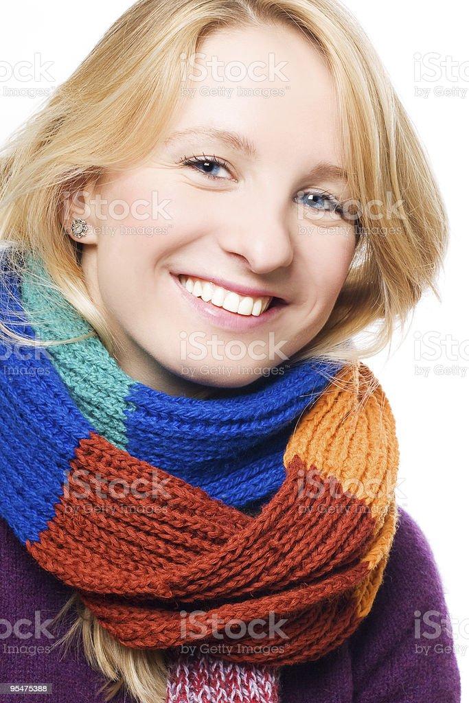 Hermosa mujer en un pañuelo foto de stock libre de derechos