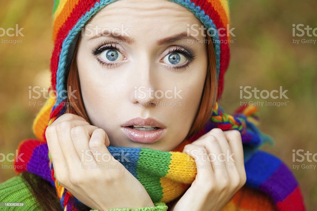 Beautiful woman in a winter scarf royalty-free stock photo