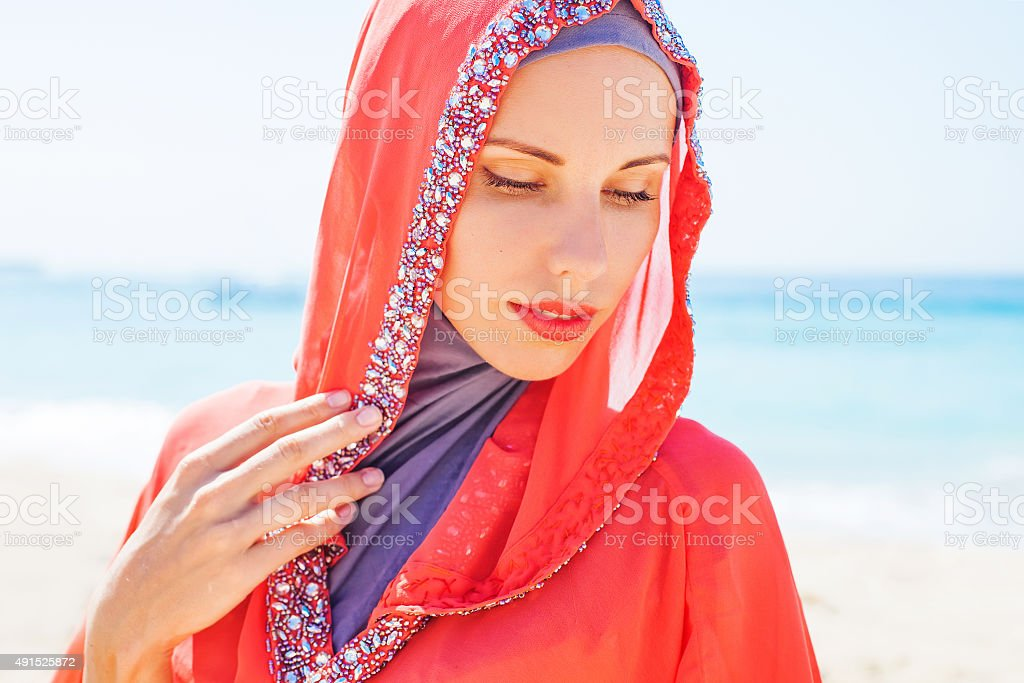 beautiful woman in arabic clothes stock photo