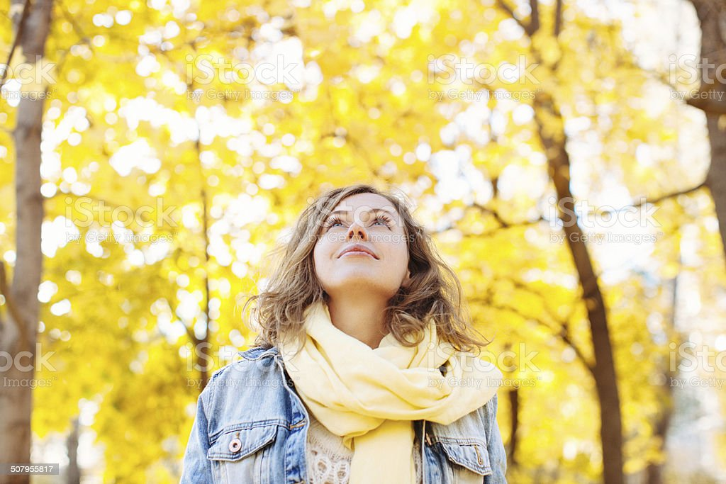 Beautiful woman in autumnal park stock photo