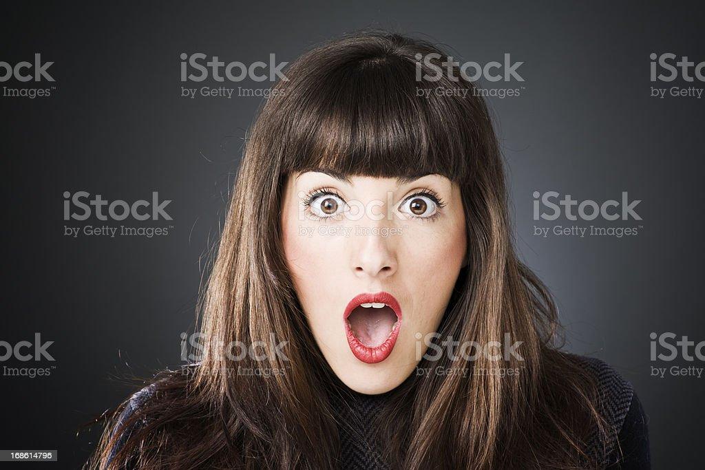 Beautiful woman in awe horizontal portrait royalty-free stock photo