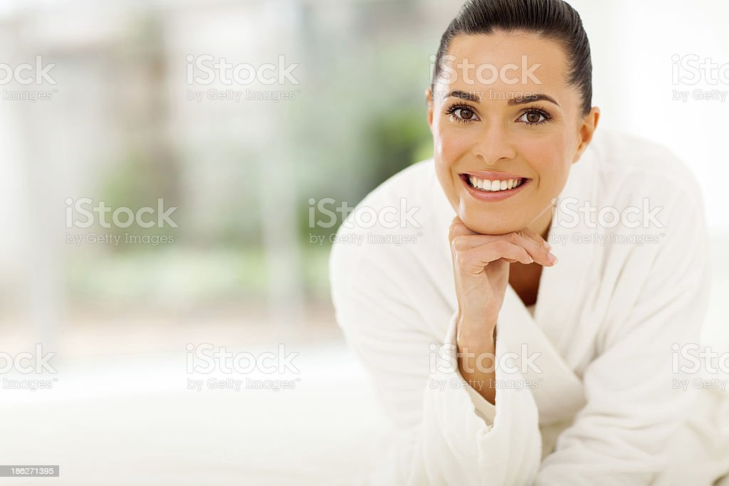beautiful woman in bathrobe royalty-free stock photo