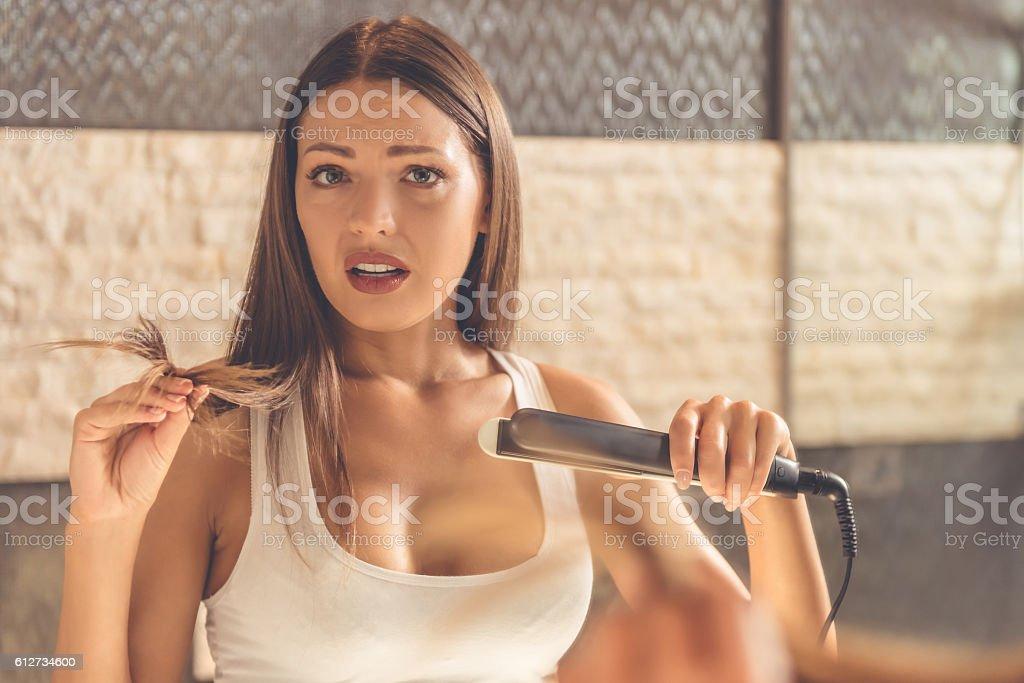 Beautiful woman in bathroom stock photo