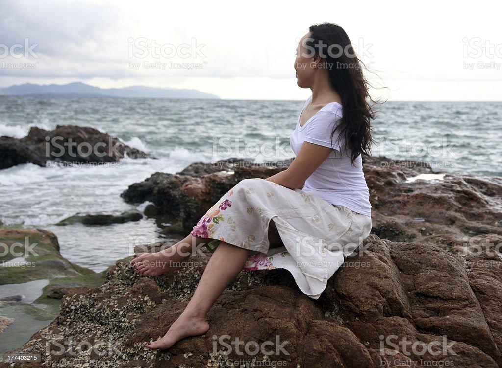 Beautiful woman in beach royalty-free stock photo