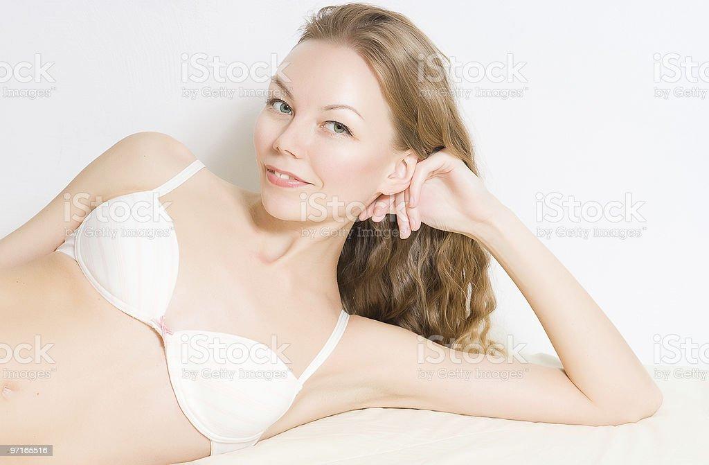 Beautiful Woman in Bed stock photo