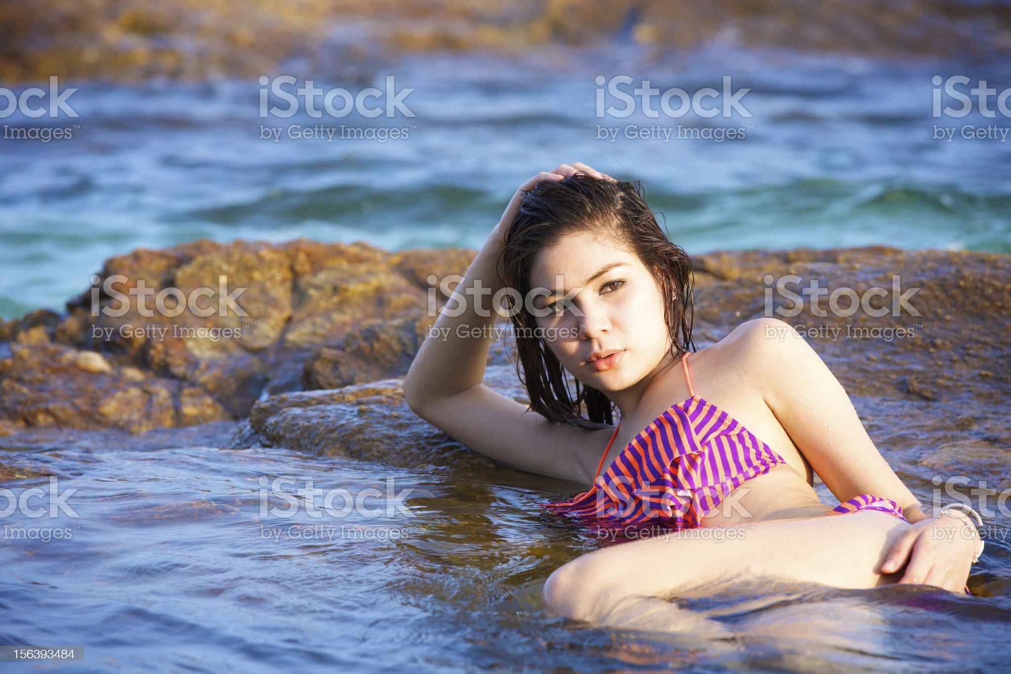 beautiful woman in bikini on the beach at summer day royalty-free stock photo