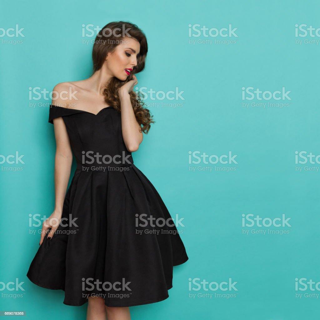 Beautiful Woman In Black Cocktail Dress stock photo