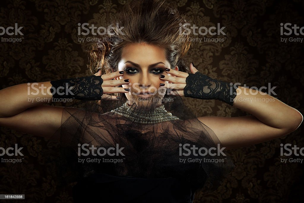 Beautiful Woman in Black Lace Outfit stock photo