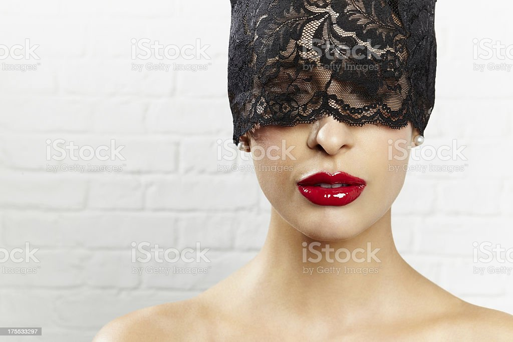 Beautiful woman in black veil royalty-free stock photo
