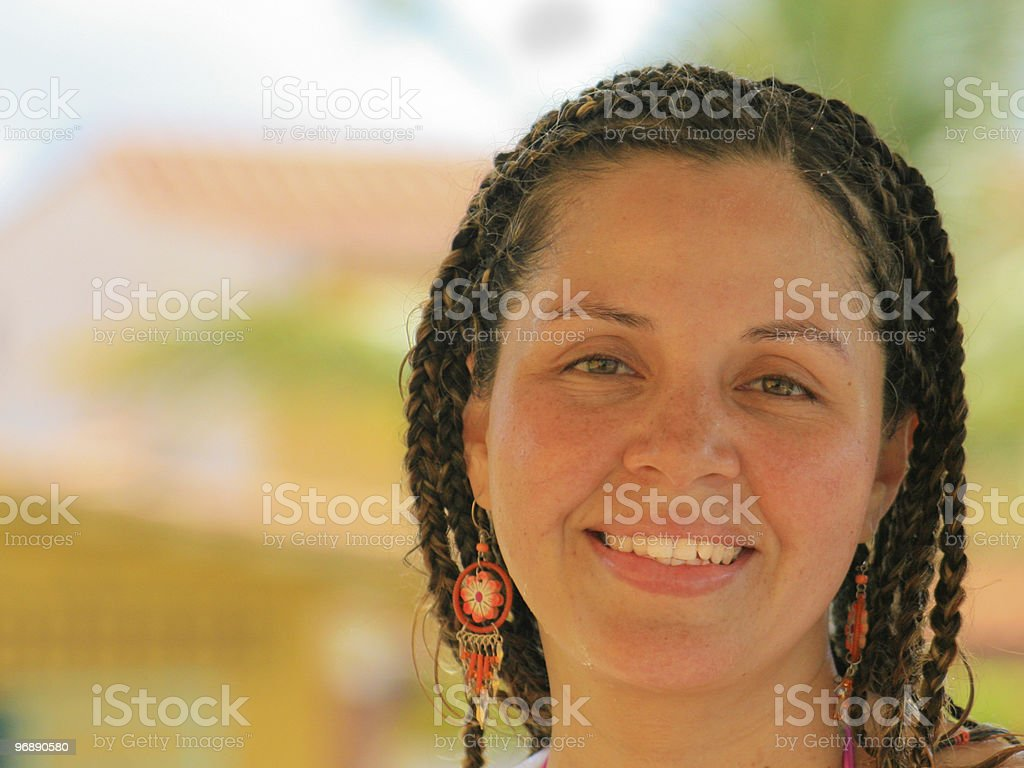 Beautiful woman in braids royalty-free stock photo