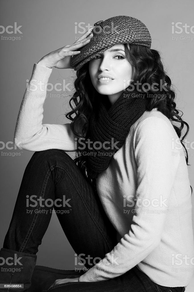 Beautiful woman in cap stock photo