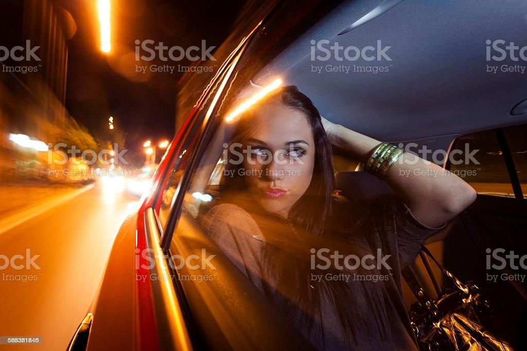 Beautiful woman in car stock photo