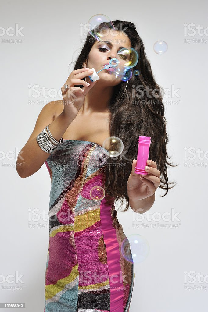 Beautiful woman in colorful dress royalty-free stock photo