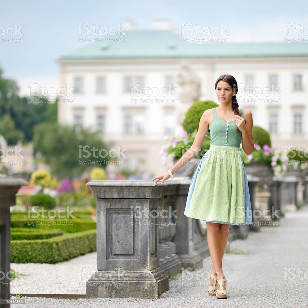 Beautiful woman in Dirndl Fashion stock photo