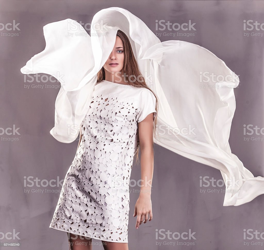 Beautiful woman in dress elegantem in the Studio stock photo