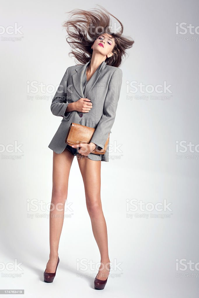 Beautiful woman in fashion clothes royalty-free stock photo