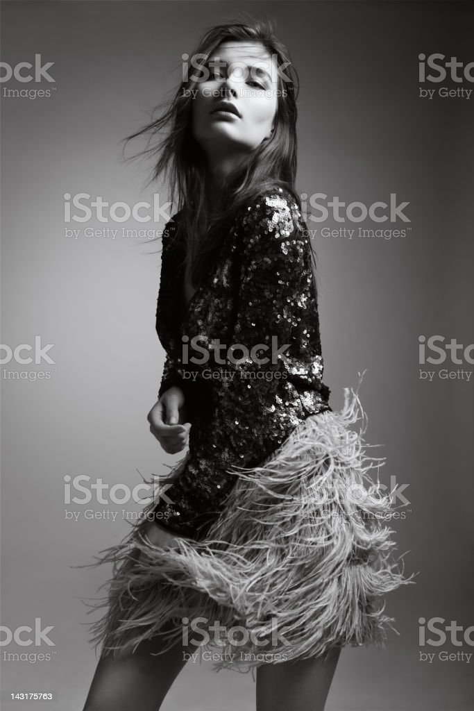 Beautiful woman in fashionable clothes royalty-free stock photo