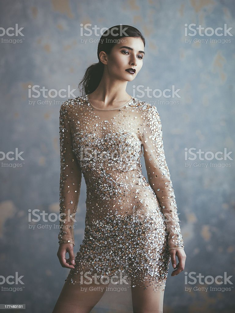 Beautiful woman in fashionable dress royalty-free stock photo