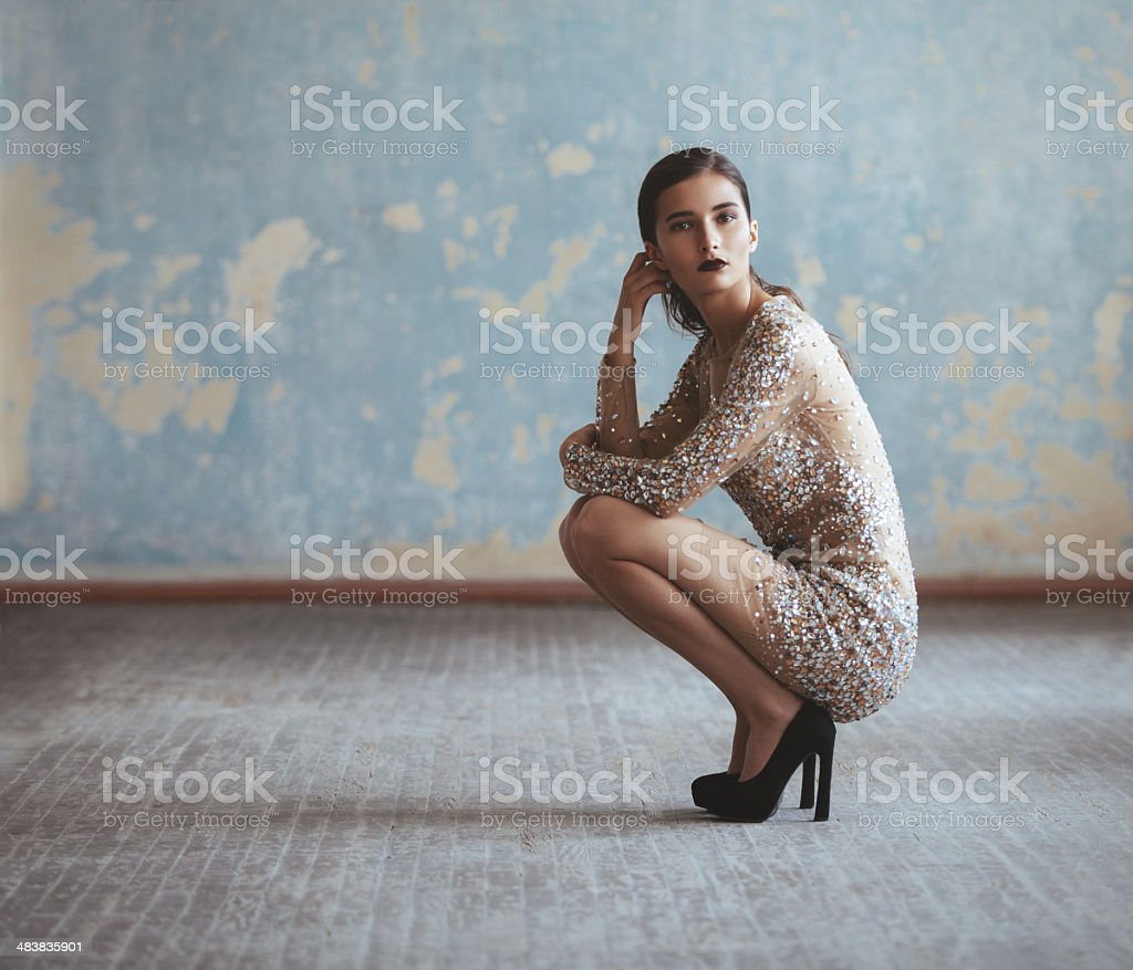 Beautiful woman in fashionable dress stock photo