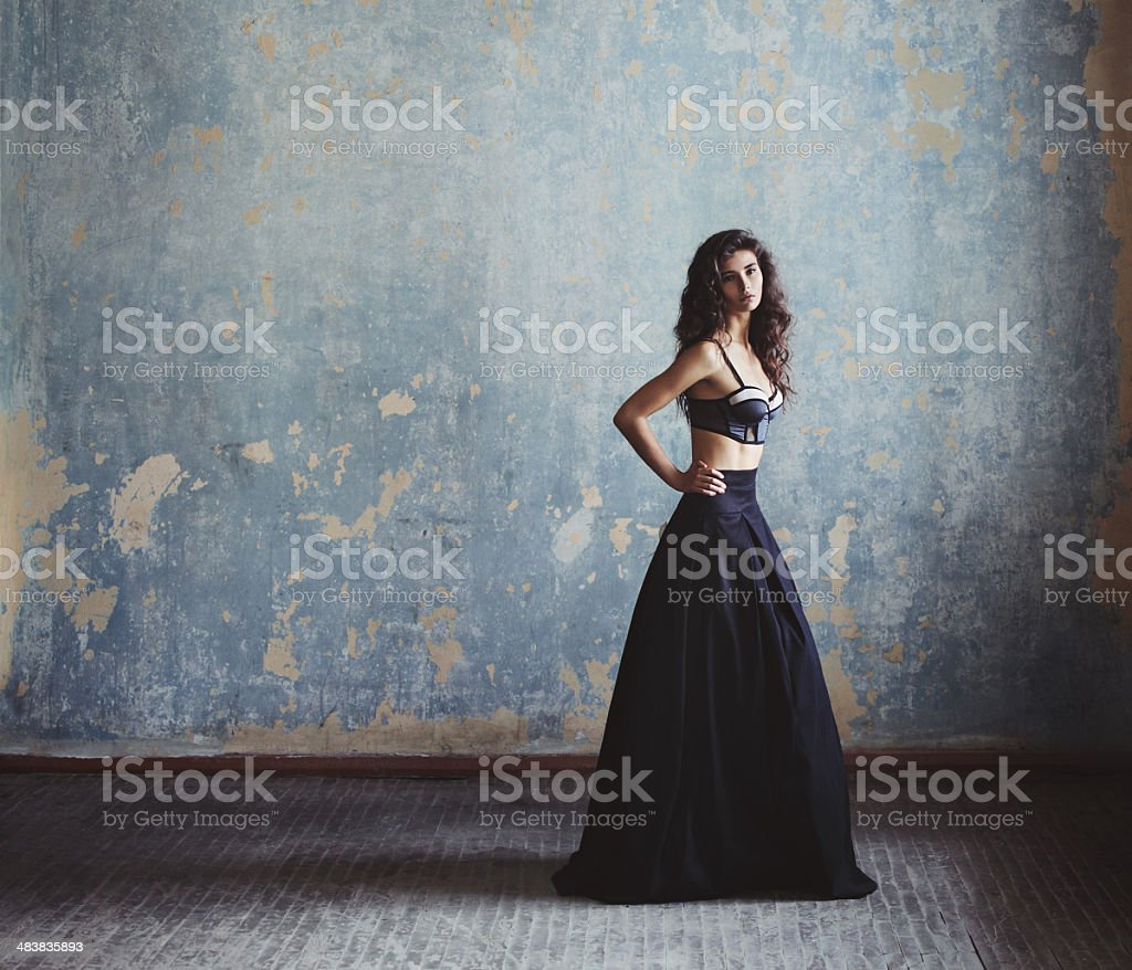 Beautiful woman in fashionable gown royalty-free stock photo