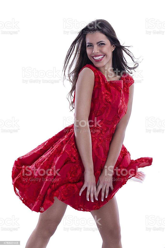 Beautiful woman in fluttering dress royalty-free stock photo