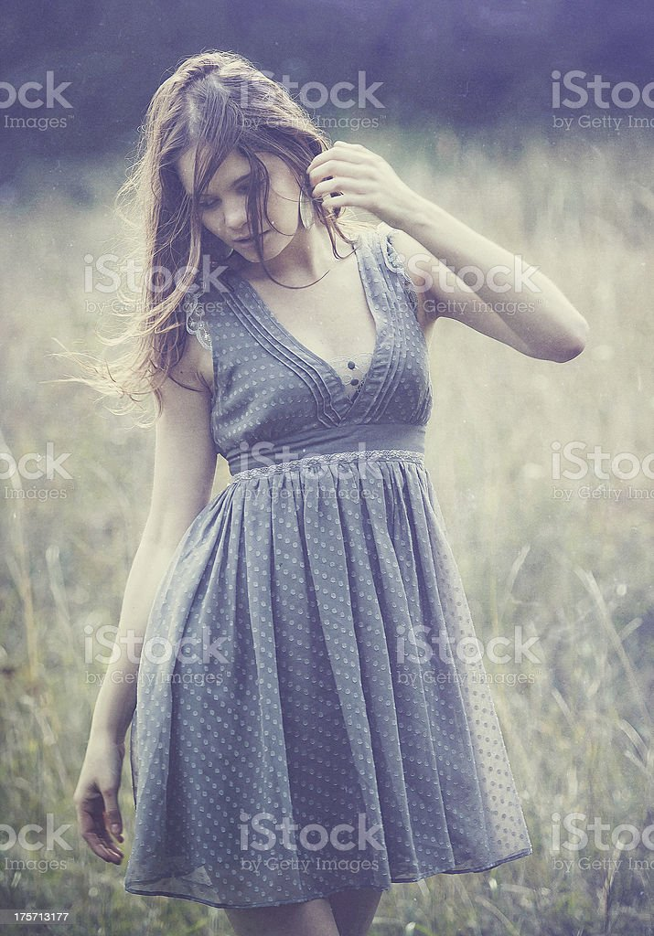 Beautiful woman in forest (series) royalty-free stock photo