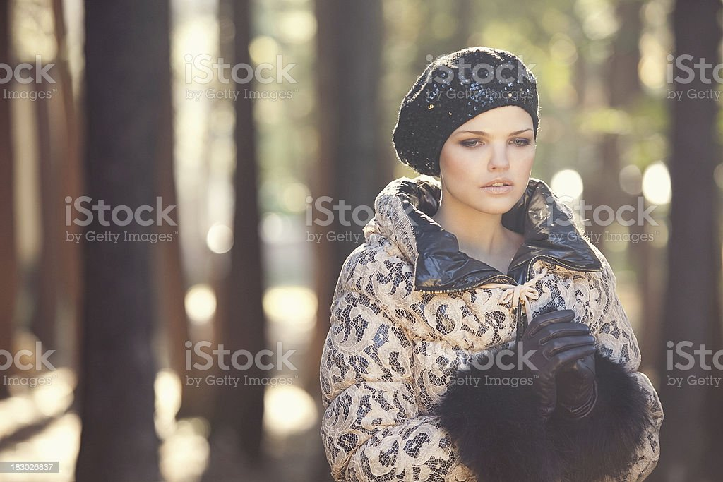 Beautiful woman in forest stock photo