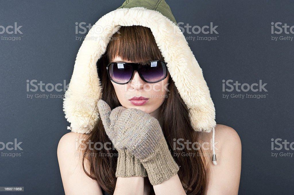 beautiful woman in furs royalty-free stock photo