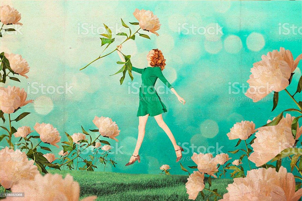 Hermosa mujer en el jardín de arte foto de stock libre de derechos