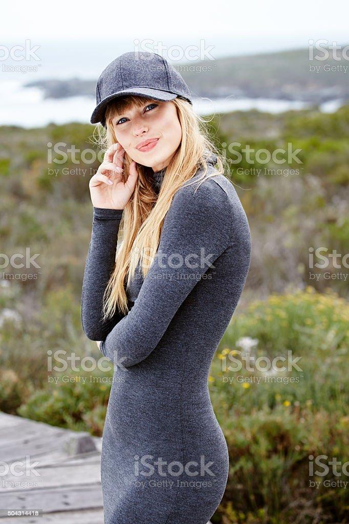 Beautiful woman in gray fashion stock photo