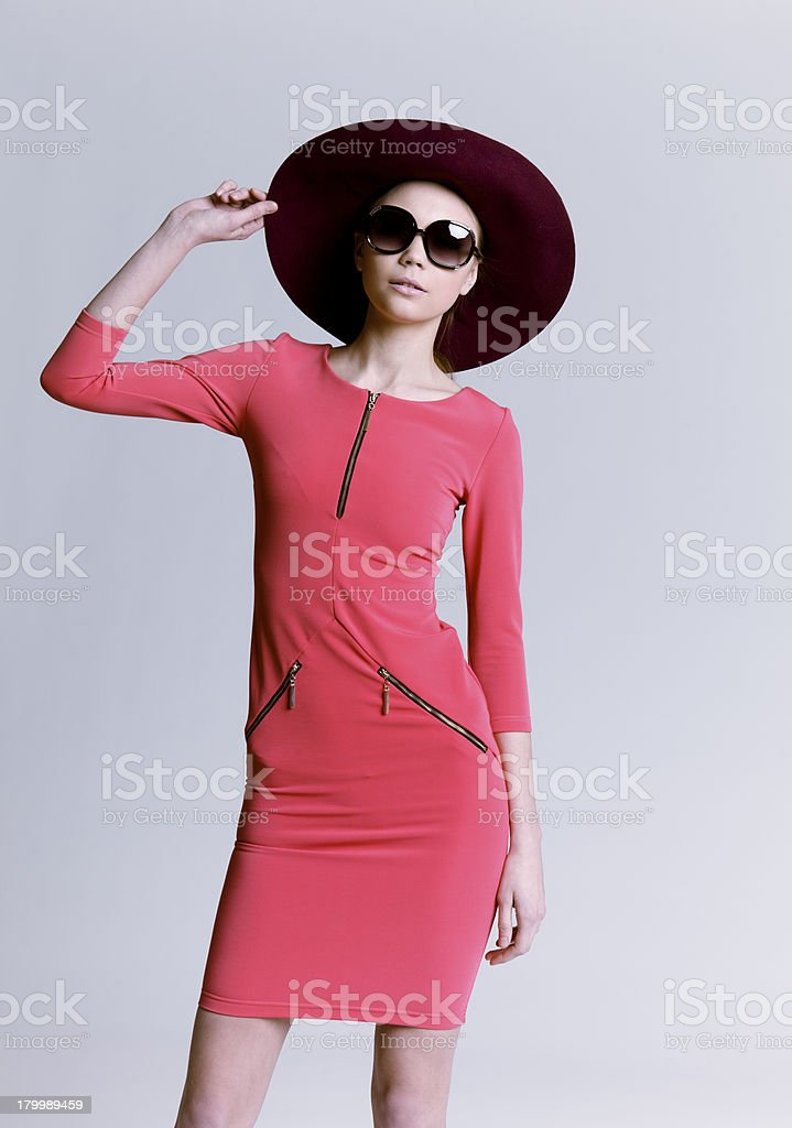 Beautiful woman in hat royalty-free stock photo