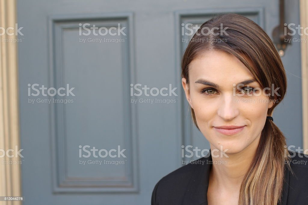beautiful woman in her mid twenties with brown hair stock photo