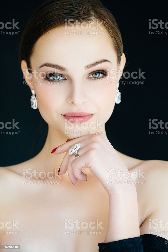 Beautiful woman in jewelry stock photo