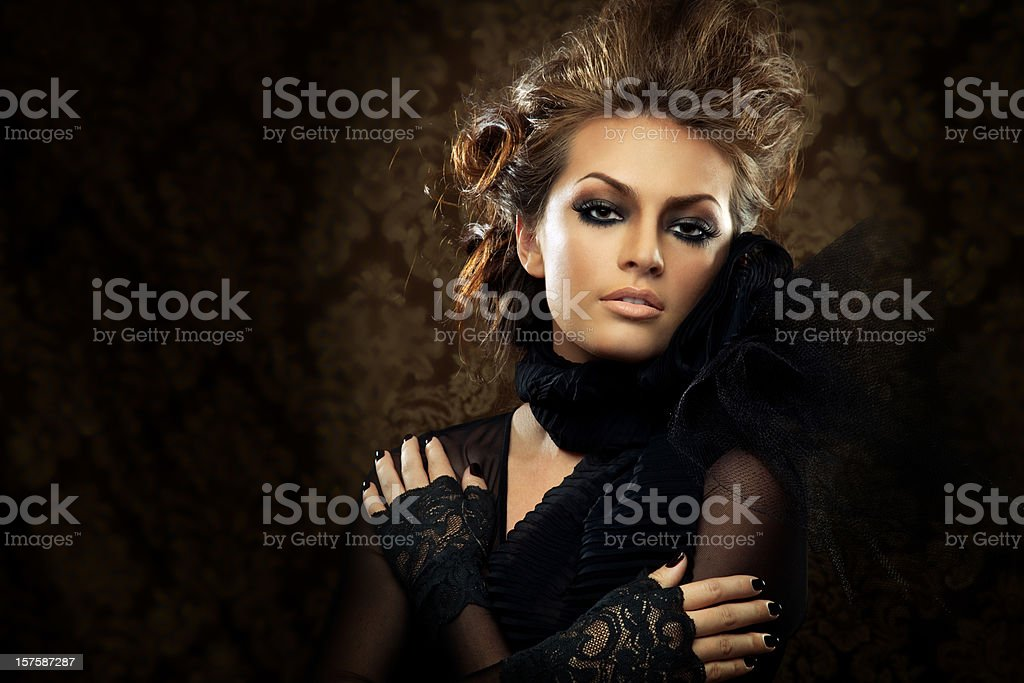 Beautiful Woman in Lace Outfit royalty-free stock photo
