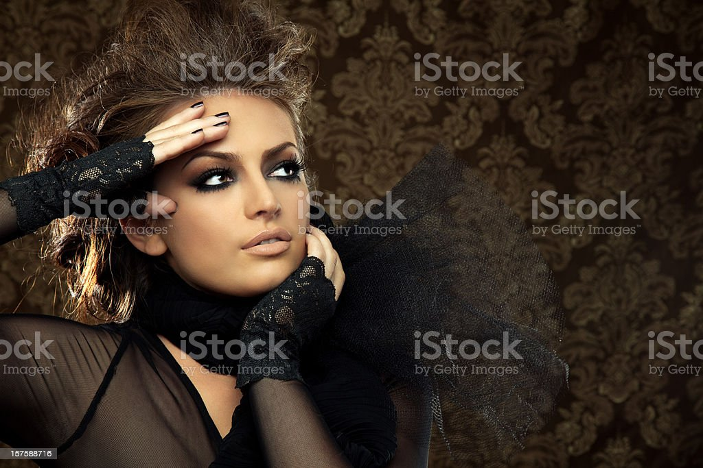 Beautiful Woman in Lace Outfit stock photo