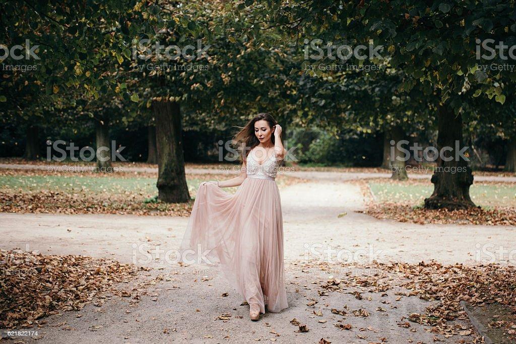beautiful woman in long  rose  evening dress walking path stock photo