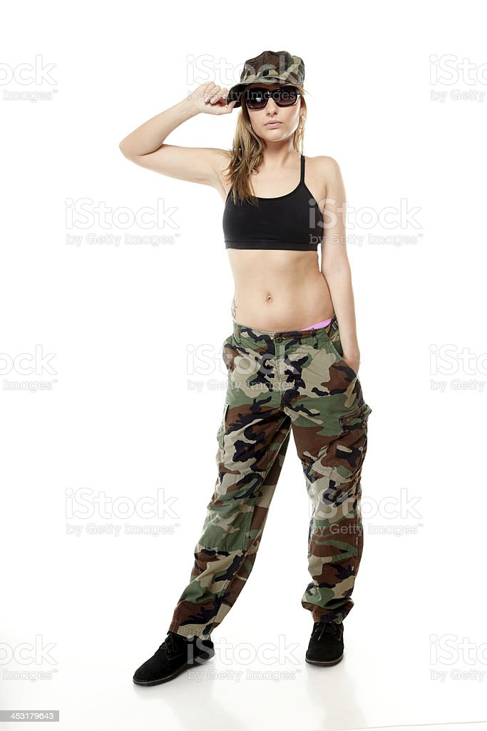 Beautiful woman in military clothes. royalty-free stock photo