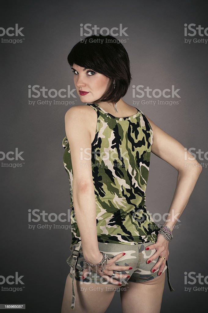 beautiful woman in military uniform royalty-free stock photo